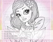 Jungle Forest Spring Fae Fairy Faery UNCOLORED Digital Stamp Coloring Page Craft Cardmaking Papercrafting DIY