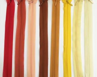 Set of 8 20 assorted colors - Lot 5 cm invisible zipper closures