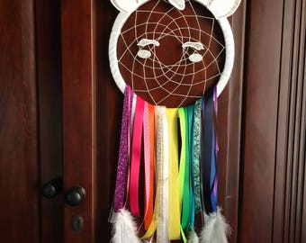 Rainbow unicorn dreamcatcher. Large. Unicorn gift. Christmas gift