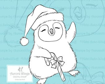 PNG Digital Stamp - Instant Download - Baby Penguin in Santa Hat  - Whimsical Holiday Animal Line Art for Cards & Crafts by Mitzi Sato-Wiuff