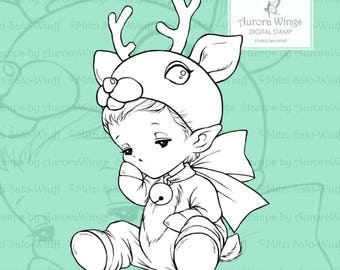 Reindeer Sprite - Aurora Wings PNG Digital Stamp - Holiday Christmas Reindeer Baby Image - Fantasy Art Instant Download for Arts and Crafts