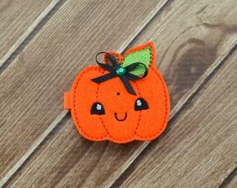 Pumpkin Hair Clip, Fall Pumpkin Hair Clip, Girls Felt Hair Clip, Fall Hair Clip, Pumpkin With Leaf Hair Clip, Toddler Hair Clip, Pumpkin Bow