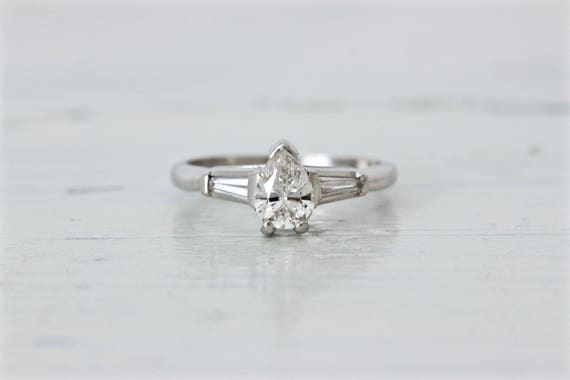Pear Cut Engagement Ring   Vintage Diamond Ring VS .99 Ct   Platinum Engagement Ring   Unique Wedding Ring   1950s Engagement Ring   Size 7