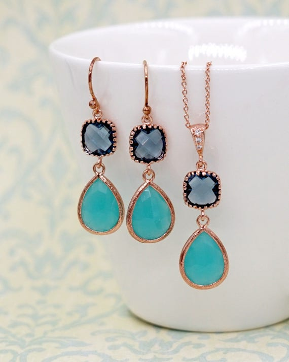 Mint teardrop Blue cushion Rose Gold Earrings | Brides Bridesmaid Blush Jewelry Wedding Something Blue | Gifts for her bff wife mom E297