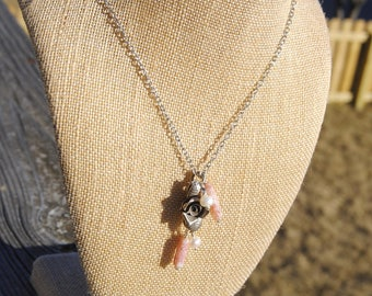 Pink Sunburst Silver and Pearl Necklace