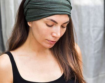 Olive Green Headband  Bohemian Head Scarf  Hair Wrap Wide Yoga Headband Boho Head Wrap