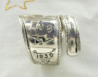 Spoon Ring, British Royal Family 1939 Canada Commemorative, Silverplate Wrapped Ring,Vintage Silverware Spoon Jewelry, Royal Family Ring