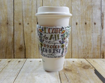 Fabric Coffee Cozy / Religious Coffee Cozy / Coffee Cozy / Tea Cozy