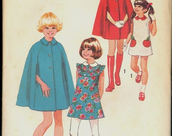 1970s Size 6 Breast 25 Girls Cape Dress Detachable Hood Simplicity 9899 Vintage Sewing Pattern 70s Steampunk Renaissance