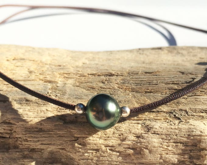 Tahitian pearl adjustable necklace on australian leather - women or men necklace