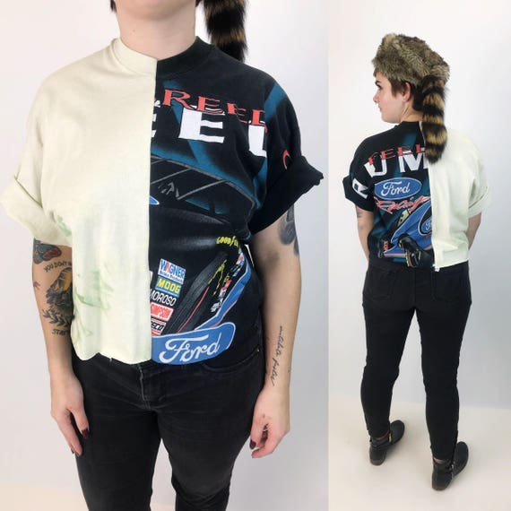 Reconstructed Vintage Cropped NASCAR T-shirt Medium - Remade Retro Weird Rare Split Half T-shirt - Two Tone Hybrid Hipster Tee - VTG Remade
