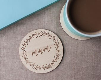Plywood Engraved Coaster for Mum // Mothers Day Gift // Gift for Mum // Berry Wreath // Hand Illustrated