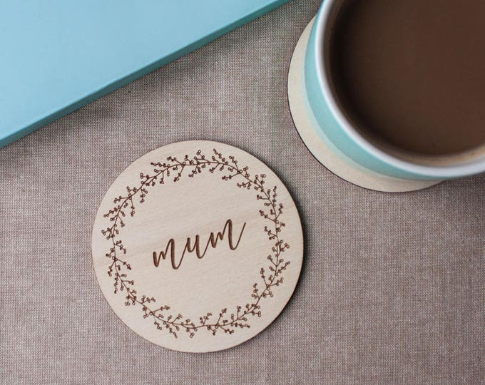 Featured listing image: Plywood Engraved Coaster for Mum // Mothers Day Gift // Gift for Mum // Berry Wreath // Hand Illustrated