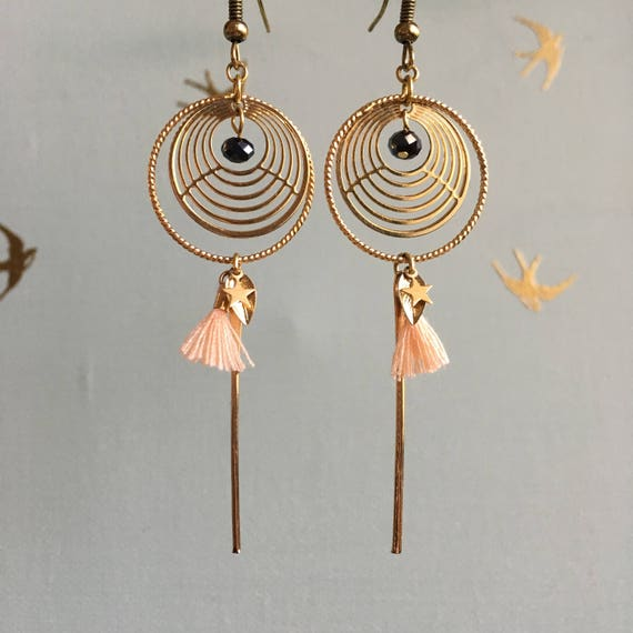 Let's be young - Boucles d'oreilles cercles et pompons