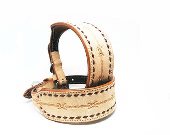 "2"" Wide Barbwire Tooled MadcoW Western Styled Nubuck Suede Leather Buck Stitched K9 Dog Collar Hand Made Fully Adjustable"
