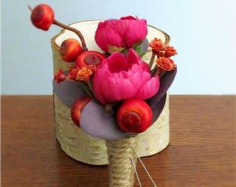"""Rustic Magenta Spray Rose Boutonnieres, Orange, Red, Dark Purple, Jute Twine Wrap, Silk Wedding Flowers, Groom's Boutonniere, """"Warmth"""""""