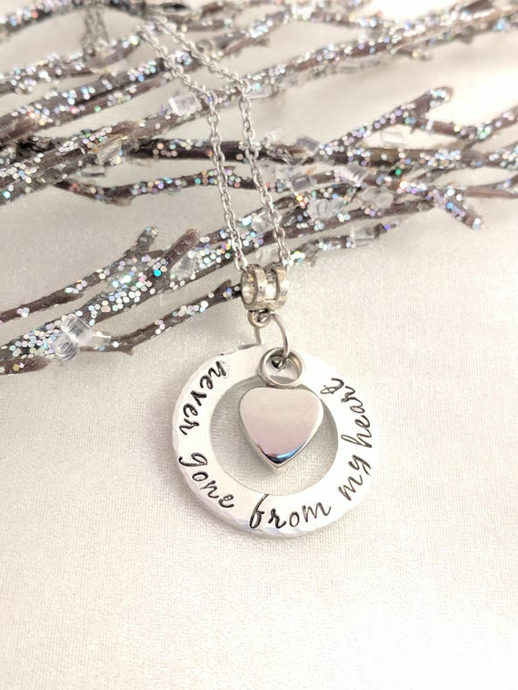 Never Gone From My Heart-Memorial Necklace-Ash Jewelry-Urn Necklace-Heart Urn Jewelry-Remembrance Keepsake-Sympathy Gift-Urn for Ashes-Loss
