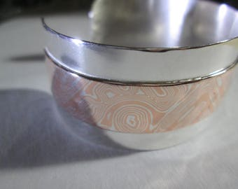 Bracelet... Mokume Gane'... silver with copper