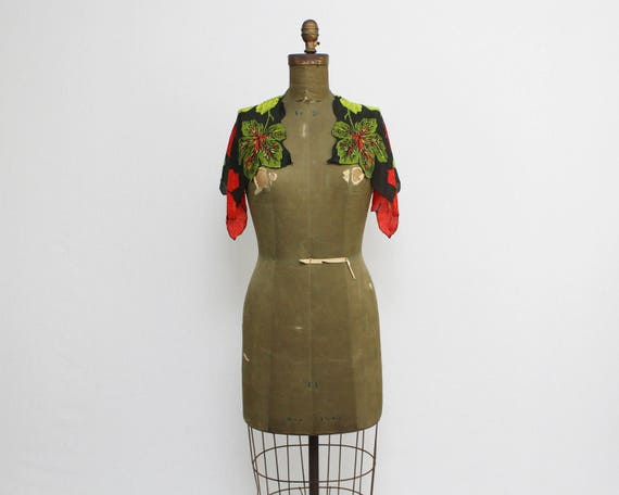 40s Floral Silk Scarf - Vintage 1940s Carol Stanley Black Red and Green Silk Scarf