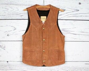 Mens 38 | Vintage Deer Wear Brown Suede Leather Sherpa Lined Western Vest