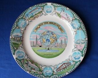 "1964-1965 New York World's Fair Porcelain Souvenir Plate Unisphere 10.25"" Diameter"