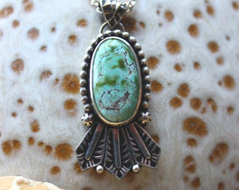 """Very Rare Basalt Mine Turquoise Headdress Pendant//Hand Stamped Details//18"""" Chain//Sterling Silver"""