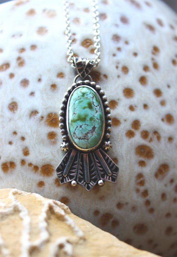 "Very Rare Basalt Mine Turquoise Headdress Pendant//Hand Stamped Details//18"" Chain//Sterling Silver"