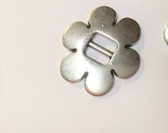 2  Sterling silver plated,  5mm flat flower cinch slides for bracelet, necklace, jewelry finding supplies