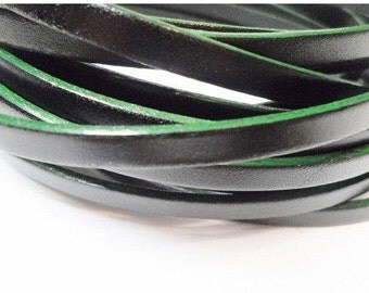 Pre Cut, No Joins, Two Tone Black with Green Trim 5mm Flat Leather, flat leather bracelets, crafts, supplies strap