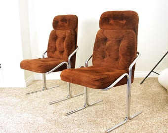 RARE Two Vintage Douglass of CA Chrome Cantilever Chairs Pair Matching Furry Original Upholstery Modern Retro Atomic Era Regency Space Age