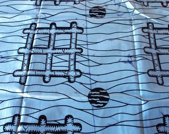 Blue on Blue two shaded wax print 50 cm x 120 cm - Wax Africa