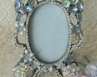 Hand Decorated Jeweled Small Vintage Picture Frame - Artist One of a Kind
