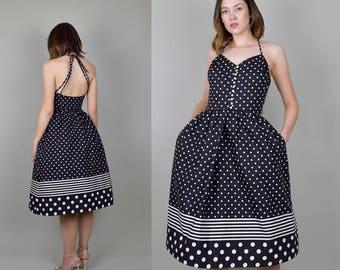 1950's style Lanz Originals Polka Dot and Stripe nautical summer Sundress Lanz Dress