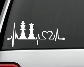 F1084 King Queen Chess Set Heartbeat Lifeline Decal Sticker Board Game Pieces