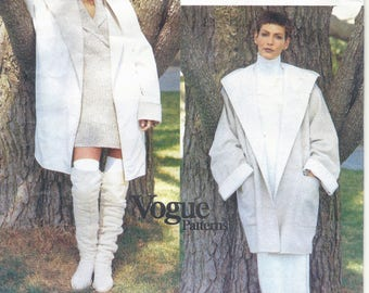 1990s Vogue 1657 DKNY Misses' Coat Sewing Pattern UNCUT