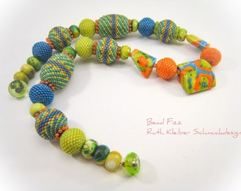 Colorful Beaded Beads Necklace, Bead Balls, Beadwoven Statement Necklace with Ceramic-, Agate- and Glass Beads, Lime Green Orange Turquoise