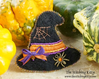 BONUS SPECIAL - Kit makes 2 - Hand-Embroidered Spider and Web Witch Hat Brooch, Ornament or Magnet