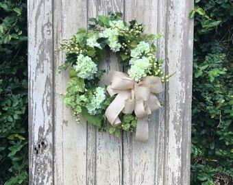 Wedding wreath,Summer Wreath,Spring Wreath, Everyday Wreath,Hydrangea Wreath,White Hydrangea Wreath,Rustic wedding wreath,Double Door Wreath