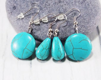 40th birthday gift Turquoise earrings gemstone earrings casual jewelry Tribal Jewelry statement jewelry every day earrings turquoise jewelry
