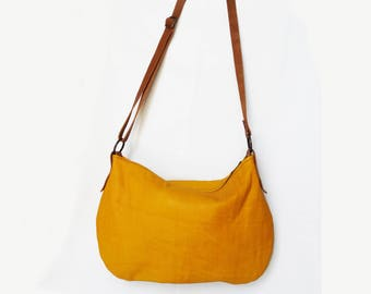 Leather hobo bag / Leather crossbody bag /  Yellow and cognac leather bag