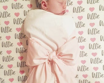 Personalized heart swaddle blanket: baby and toddler personalized name newborn hospital gift baby shower gift