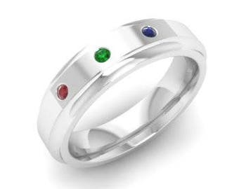 Round Ruby, Sapphire and Emerald Men's Engagement Ring in Solid 10K White Gold & Sterling Silver