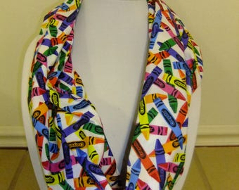 Crayon Infinity Scarf - Loop Scarf - Circle Scarf - Rainbow color crayon - Cotton - teacher apparel