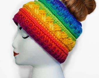 Messy Bun Hat - Ponytail Beanie - Crochet Messy Bun Beanie - Ponytail Hat - Beanie Hat with Ponytail Hole - Winter Bun Beanie