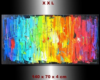 "Painting ""colors of the rainbow"" acryl on canvas 27,56 x 55,12 x 1,57"""