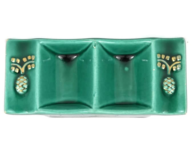 Green Majolica Open Salt. French Art Deco Salt and Pepper Cellars. His and Hers Ring Dishes.