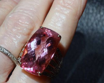 Pink Topaz Ring, Yellow and White Gold, Solitaire, Diamond Accents Vintage