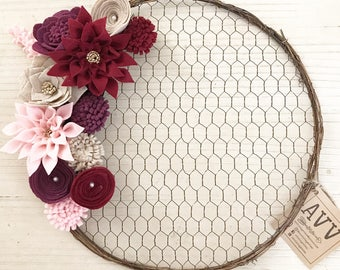 Chicken wire wreath with felt blossoms (Red.Pink.Maroon.Tan)