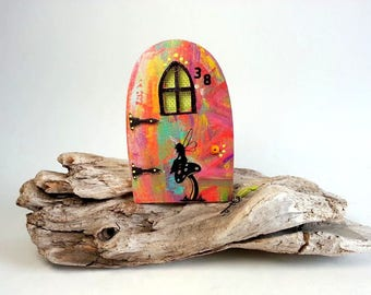 Rainbow little fairy door with window,miniature world,fairy garden,shrink plastic,handpaint