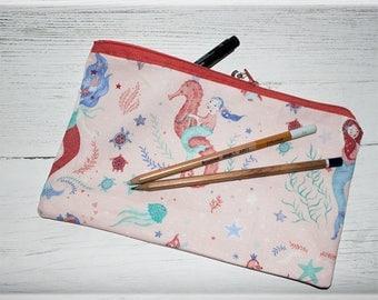 Mermaid Pencil case, Large Pen Case, Seahorse Pencil Case, Mermaid Gifts, Lined Pencil Case, Zipper Pencil case, Make up Bag, Mermaid Gifts